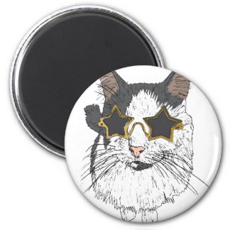Cat Wearing Star Glasses 2 Inch Round Magnet