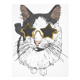 Cat Wearing Star Glasses Letterhead Design