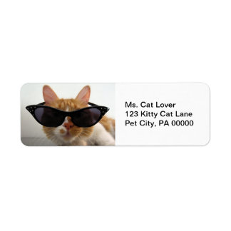 Cat Wearing Sunglasses  Return Address Labels