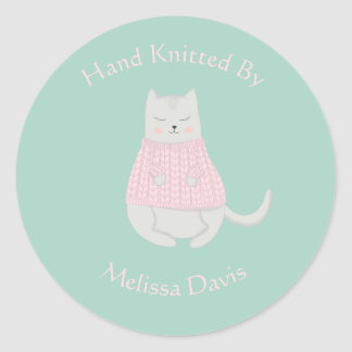 Cat Wearing Sweater Personalized Knitted by Classic Round Sticker