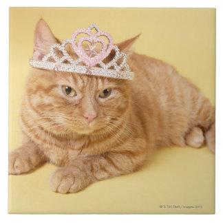 Cat wearing tiara tile