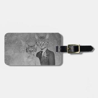 Cat wedding luggage tag