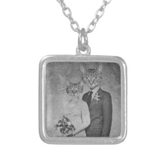 Cat wedding silver plated necklace