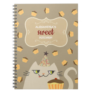 Cat White Cute Kitchen Cakes Recipes Chic Planner Notebook