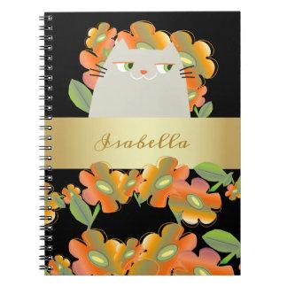 Cat White Floral Spring Bloom Black Golden Glam Spiral Notebook
