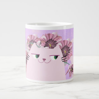 Cat White Spring Floral Bloom Violet  Boho Chic Large Coffee Mug