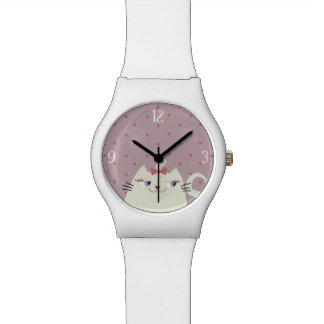 Cat White Super Cute Girly Pink Polka Dots Sweet Watch