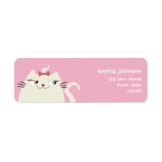 Cat White Super Cute Pink Lady Bow Cartoon Girly