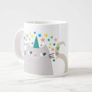 Cat White Unicorn Caticorn Colorful Stars Chic Large Coffee Mug