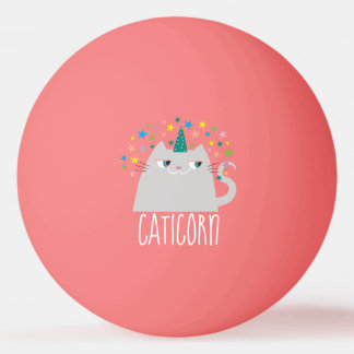 Cat White Unicorn Caticorn Colorful Stars Chic Ping Pong Ball