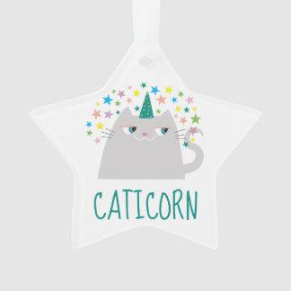 Cat White Unicorn Caticorn Colorful Stars Funny Ornament