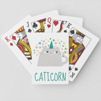 Cat White Unicorn Caticorn Colorful Stars Funny Playing Cards