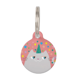 Cat White Unicorn Caticorn Colorful Stars Pink Pet ID Tag