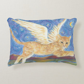 Cat Wings Starry Night Blue Sky Accent Pillow