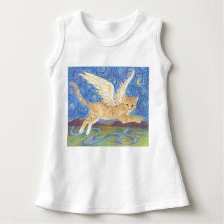 Cat Wings Starry Night Blue Sky Shirt Dress