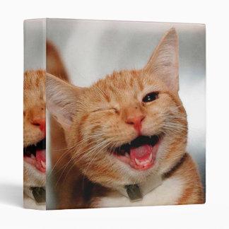 Cat winking - orange cat - funny cats - cat smile 3 ring binders