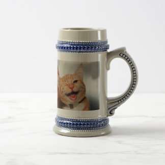 Cat winking - orange cat - funny cats - cat smile beer stein