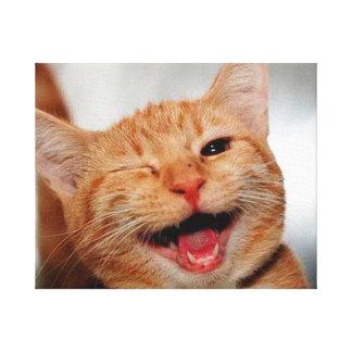 Cat winking - orange cat - funny cats - cat smile canvas print