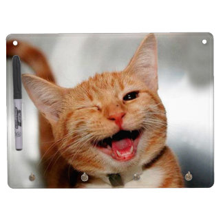 Cat winking - orange cat - funny cats - cat smile dry erase board with keychain holder