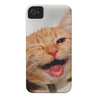 Cat winking - orange cat - funny cats - cat smile iPhone 4 Case-Mate case