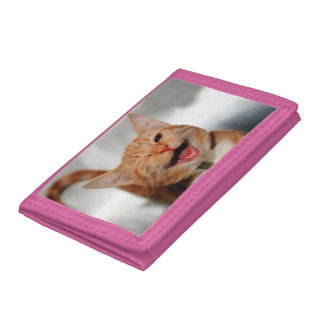 Cat winking - orange cat - funny cats - cat smile tri-fold wallet