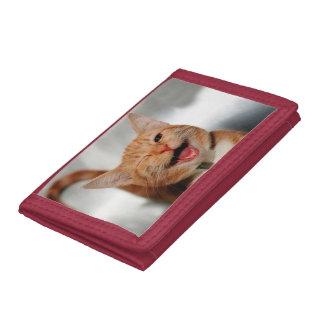 Cat winking - orange cat - funny cats - cat smile tri-fold wallets