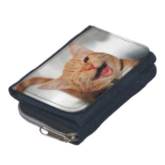 Cat winking - orange cat - funny cats - cat smile wallet