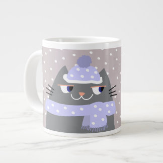 Cat Winter Cartoon Cute Let It Snow Chic Adorable Large Coffee Mug