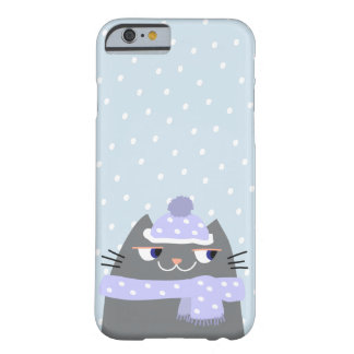 Cat Winter Snow Cartoon Cute Stylish Adorable Barely There iPhone 6 Case