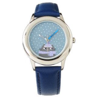 Cat Winter Snow Cartoon Cute Stylish Adorable Blue Watch