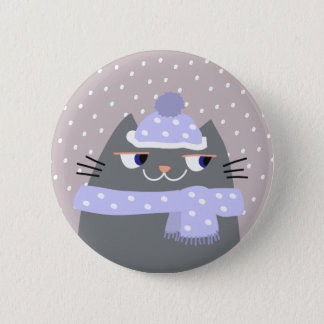 Cat Winter Snow Cartoon Cute Stylish Adorable Chic 2 Inch Round Button