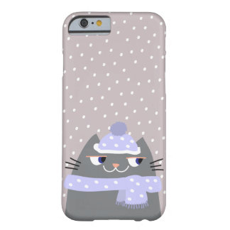 Cat Winter Snow Cartoon Cute Stylish Chic Adorable Barely There iPhone 6 Case