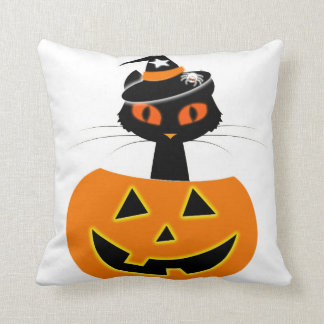 Cat Witch Halloween set Throw Pillow