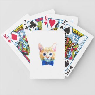 Cat with a bow tie bicycle playing cards