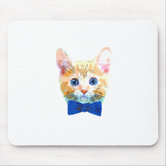 Cat with a bow tie mouse pad