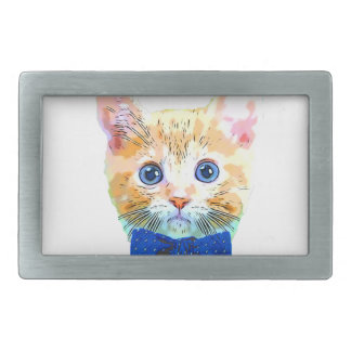 Cat with a bow tie rectangular belt buckle