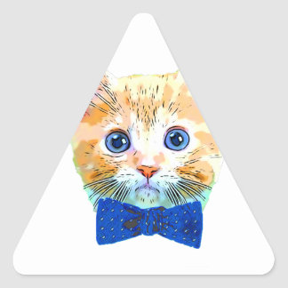 Cat with a bow tie triangle sticker