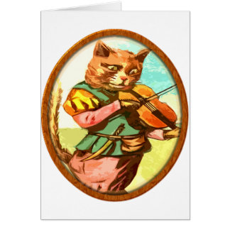 Cat with a fiddle card