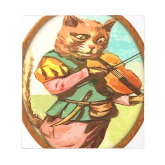 Cat with a fiddle notepad