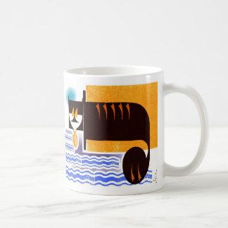 cat with a fish basic white mug