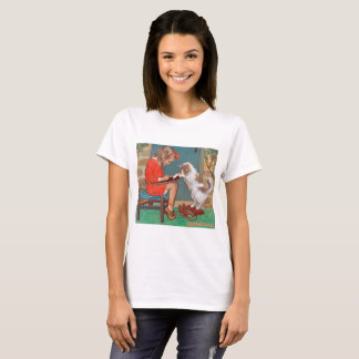Cat with a Girl, Jessie Willcox Smith T-Shirt