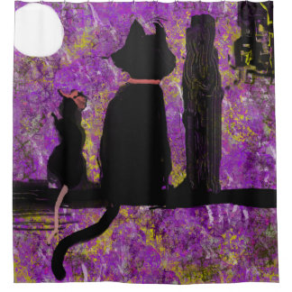 Cat with a Rat Whimsical Shower Curtain