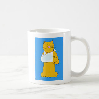 Cat with arm in a sling get well soon. coffee mug
