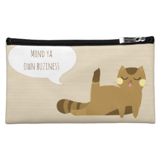 Cat with attitude cosmetic bag