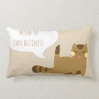 Cat with attitude lumbar pillow