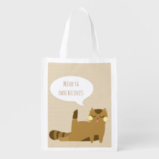 Cat with attitude reusable grocery bag