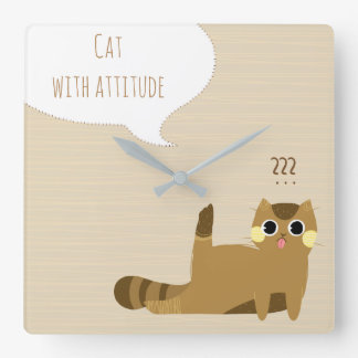 Cat with attitude square wall clock