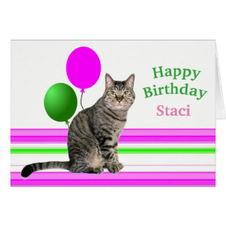 Cat with Balloons Birthday Card for Kids