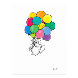 CAT WITH BALLOONS postcard by Sandra Boynton
