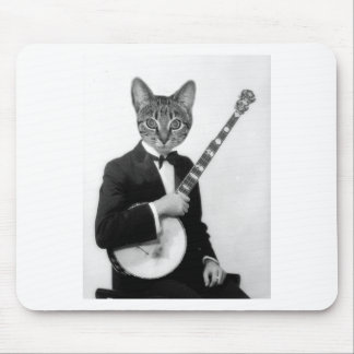 Cat with Banjo Mouse Pad